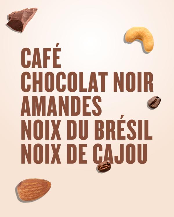 Coffee dark chocolate almonds nut bar
