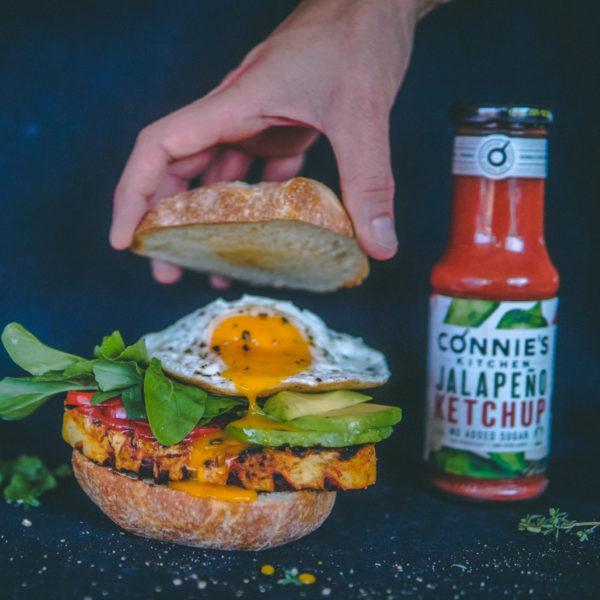 Swiss Organic Jalapeño Ketchup burger