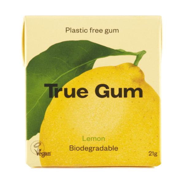 true gum plastic free chewing gum lemon